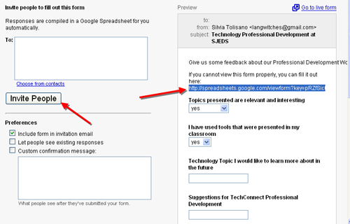 Google Docs Spreadsheet Forms | Silvia Tolisano- Langwitches Blog